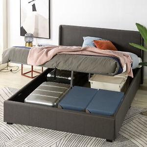 Zinus Bed Frame Queen Size Fabric Gas Lift Dark Grey Storage Base