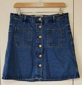 Newlook Skirt Size 10 Denim Blue Mini Button Down Summer Holidays Women's