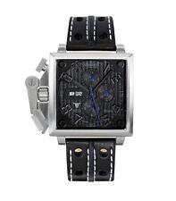 Armbanduhren mit Armband aus echtem Leder und Chronograph für Erwachsene