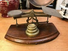 Antique English Oak & Brass Post office Letter Weighing Scales Country Display