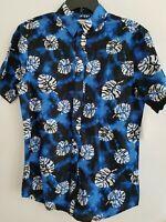 Sun + Stone Mens Blue Tropical Tie-Dye Short Sleeve Button Down Shirt