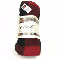 Woolrich Rough Rider Iconic Red Buffalo Plaid Wool Blend Blacket 50 x 60