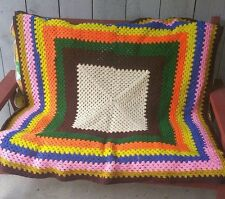 """Hand-made Crocheted Afghan Throw Blanket 49""""x 47"""" Vintage Multi-color Cheerful"""