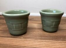 Longaberger Pottery Woven Traditions Sage Votive Candle Holders Set of 2 - Usa