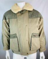 Vintage Eddie Bauer Parka Coat Goose Down Sherpa Collar Bomber Safari Green