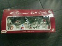 VINTAGE CHRISTMAS CERAMIC BELL LIGHTS (10) MADE IN TAIWAN - RARE!