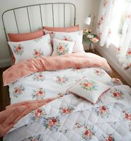Catherine Lansfield Pom Pom Floral Easy Care Duvet Cover Set Coral S/D/K