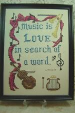 """Vintage Cross Stitched Piece """"Music Is Love In Search Of A Word"""" Framed 12X16"""