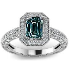 3.17ct VS1/BLUE GREEN EMERALD MOISSANITE DIAMOND & WHITE SILVER RING