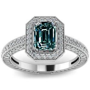 2.35 Ct Vs1;=BLUE GREEN EMERALD MOISSANITE DIAMOND 925 SILVER Engagement RING
