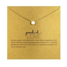 18K Gold Plated Imitation Pearls of Love Charm Inspirational Message Necklace