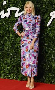 Kate Spade Rain Drop Winter Garden Silk Blend High Neck Midi Dress US 10 UK 14