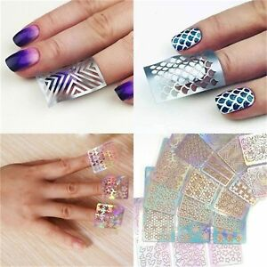 24Styles Nail Art Vinyl Stencil Guide Sticker Manicure Curved Wave Laser Tip New