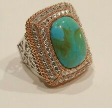 Sz 6 Cushion Turquoise Cabochon 20x15mm Sterling Silver Ring w/Beads & Rose Gold