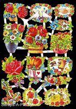 German Victorian Style Scrap Die Cut - Flowers, Doves & Roses  WOW  EF7008