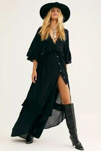 Free People Paradiso Dress M  Women's Endless Summer Buttondown Maxi NEW 17432