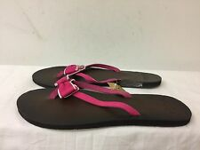 Hollister women Leather/fabric Flip Flops Size LARGE  pink Bow Detail