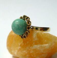 54 (17,2 mm Ø) Antiker Amazonit Ring Damenring 333/8k Gold