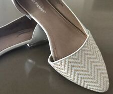 "Ex Display Stock HUSH PUPPIES White & Weave ""Trilby"" Slip On Flats Size 7.5"