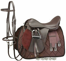 "17 Inch All Purpose English Saddle Package - Hav Brown - All Leather - 7"" Gullet"