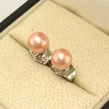 18k White Gold Filled Earrings 6mm Fresh Shell Pearl Bead Stud GF Charms Jewelry