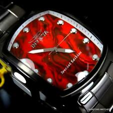 Invicta Grand Lupah Red Abalone Gunmetal Stainless Steel 47mm Quartz Watch New