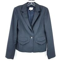 3.1 Phillip Lim Womens 6 Blue wool One Button Blazer Career Notched Lapel