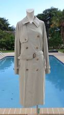 BURBERRY BEIGE / TAN  BELTED LIGHT NOVA CHECK LINING TRENCH / OVER COAT Sz R 38