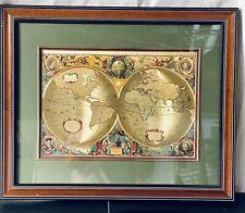 Henr Hondio Nova Totivs Terrarvm Orbis Gold Foil Geographica Map in a Frame
