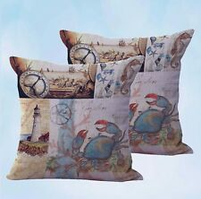 US Seller-set of 2 pillow crab lighthouse sailing seaside nautical cushion cover