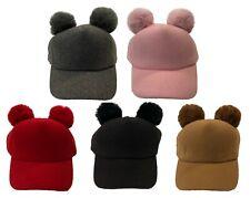 Kids Youth Winter 2 Pom Pom Ball Children Winter Visor Adjustable Warm Cap Hat