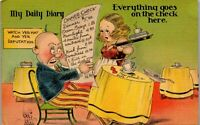 My Daily Diary Dinner Check Waitress Surprised 1940's Era Humor Vintage Postcard