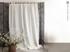 LINEN CURTAIN- Stonewashed linen off white curtain with ruffles