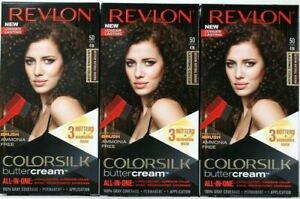 (3) Revlon 50 / 41N Medium Natural Brown Vivid Hair Color Colorsilk Buttercream