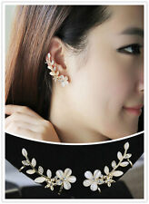 New Fashion Flower Shape Rhinestone Right Ear Cuff Clip Golden Earring Stud 2016
