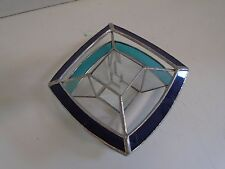 Leaded Stained Glass Window Sun Catcher Blue Turquoise Square Diamond