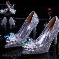 Silver Sexy Cinderella Women Rhinestone Wedding Party Pumps High Heel Shoes Size