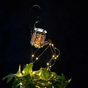 Solar LED Garden Watering Can Lamp with Lights String Fairy Garden Ornaments