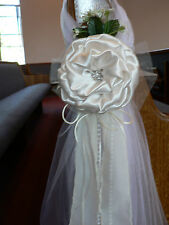 Wedding decor. Chair Bows, Pew Bows, Ivory Church Aisle Pew decoration