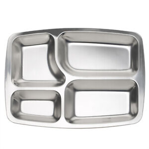 Rectangle Food Serving Tray Silver Metal Divided Plate 4 / 5 / 6 Compartments