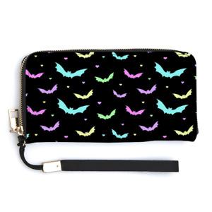 Pastel Bats Kawaii Ladies Wallet Purse Personalised Wrist Strap Money Rockabilly