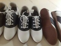 Predictions Womens Oxford Saddle Shoes Lace Up Faux Leather Black White