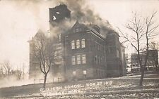 Real Photo Postcard High School Building on Fire in Jackson, Minnesota~112412