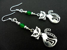 A PAIR OF TIBETAN SILVER/GREEN JADE  CAT EARRINGS WITH 925 SOLID SILVER HOOKS.