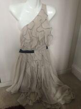 TOPSHOP Cream Dress Knee Length Off 1 Shoulder Occasion Prom Wedding SIZE 8
