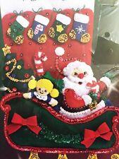 "Holiday Santa 18"" Christmas Stocking Craft Kit Applique Felt Janlynn No. 90-50"
