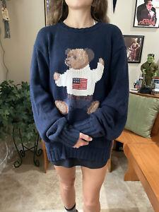 POLO Ralph Lauren Men's Sit Down Bear L Hand Knit Sweater Vintage USA Flag 90s