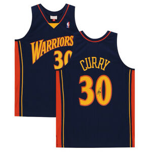 STEPHEN CURRY Autographed Warriors Throwback Authentic M&N Jersey FANATICS