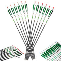 SP500 Carbon Arrows with White&Green Real Turkey Feather Hides F Hunting Archery