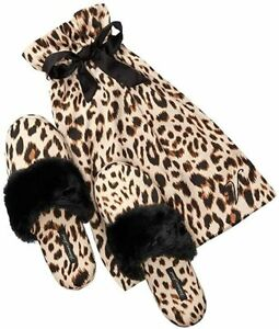 Victoria's Secret Signature Satin Slippers Animal Print/Leopard NWT